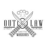 Plantilla blanco y negro proscrita criminal del diseño de la muestra del club de la calle con el texto, los cuchillos cruzados de ilustración del vector