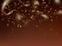 Plantilla borrosa con confeti y bokeh de oro EPS 10 ilustración del vector