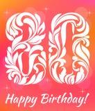 Plantilla brillante de la tarjeta de felicitación Celebrando 80 años de cumpleaños Fuente decorativa Imagen de archivo