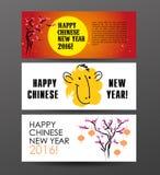 Plantilla china de la postal del Año Nuevo del vector Foto de archivo libre de regalías