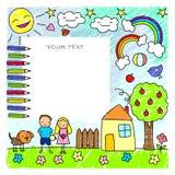 Plantilla coloreada de los dibujos de los niños del garabato stock de ilustración