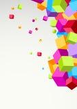 Plantilla colorida brillante del fondo de los cubos Imagenes de archivo
