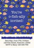 Plantilla colorida de la tarjeta de la invitación del partido de los pescados Pescados tropicales del filón del ejemplo del vecto ilustración del vector
