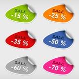 Plantilla colorida de la venta del discsount de las etiquetas engomadas Imagen de archivo
