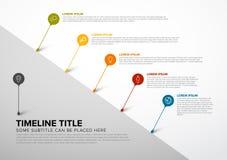 Plantilla colorida del informe de la cronología de Infographic con las burbujas stock de ilustración
