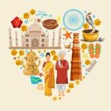 Plantilla colorida del viaje indio Dimensión de una variable del corazón Amo la India Ilustración del vector en estilo retro Imágenes de archivo libres de regalías