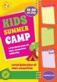 Plantilla colorida del viaje del verano, aviador del campamento de verano ilustración del vector