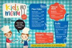 Plantilla colorida linda del menú de la comida de los niños ilustración del vector