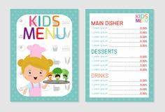 Plantilla colorida linda del vector del menú de la comida de los niños, menú de los niños, diseño colorido lindo del menú de la c Fotografía de archivo