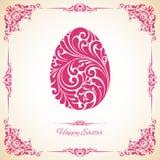 Plantilla con el marco decorativo y el huevo de Pascua adornado Fotos de archivo