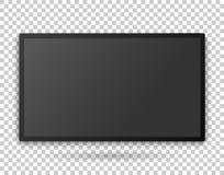 Plantilla con la pantalla vacía, mofa arriba detallada de la pantalla de la TV para arriba en el fondo transparente Fotos de archivo libres de regalías
