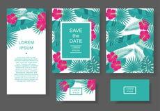 Plantilla con las flores y las hojas tropicales Modele el aviador, invitación, aviador, tarjeta de visita Fotos de archivo