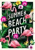 Plantilla con las palmeras, fondo tropical del diseño del cartel del partido de la playa del verano de la bandera stock de ilustración