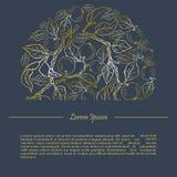 Plantilla con las ramas de oro de la manzana Imagenes de archivo