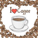 Plantilla con los granos de café en la forma de un corazón y de una taza de café Maqueta Stock de ilustración