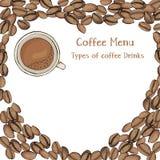 Plantilla con los granos de café en la forma de un corazón y de una taza de café Menú del café Maqueta Libre Illustration