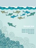 Plantilla con los tiburones de la historieta stock de ilustración