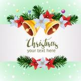 Plantilla con vector de la Navidad de la decoración de la campana ilustración del vector