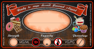 Plantilla condimentada postre de la etiqueta del frasco de la botella del jugo del e-líquido de los e-cigarrillos de Vape Fotos de archivo