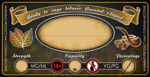 Plantilla condimentada tabaco de la etiqueta del frasco de la botella del jugo del e-líquido de los e-cigarrillos de Vape Fotografía de archivo