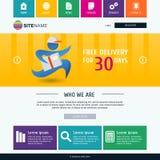 Plantilla corporativa del sitio web del metro Diseño web plano moderno Colorf Fotos de archivo libres de regalías