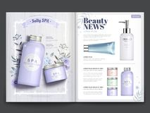 Plantilla cosmética de la revista stock de ilustración
