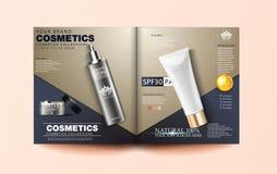 Plantilla cosmética de la revista, diseño cosmético del folleto con las colecciones del producto y flores elegantes, ejemplo 3d ilustración del vector