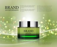 Plantilla cosmética de los anuncios, botella de la esencia Fotografía de archivo libre de regalías