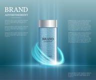 Plantilla cosmética de los anuncios, botella de la esencia Imagen de archivo libre de regalías