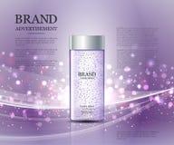 Plantilla cosmética de los anuncios, botella de la esencia Imagen de archivo