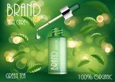 Plantilla cosmética de los anuncios de producto Botella del suero del cuidado de piel del té verde con las hojas de té y el bokeh ilustración del vector