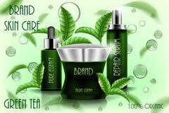 Plantilla cosmética hidratante de los anuncios, diseño de producto cosmético 3D con las hojas de té del vuelo Crema, suero del es ilustración del vector