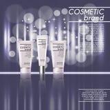 plantilla cosmética realista de los anuncios de la botella 3D Diseño de concepto cosmético de la publicidad de marca con brillos  Foto de archivo