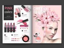 Plantilla cosmética romántica de la revista libre illustration