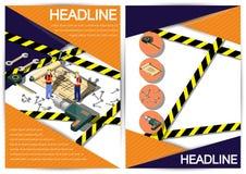 Plantilla creativa del diseño del papel del vector del folleto del aviador de la plantilla de la construcción Imagen de archivo