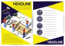 Plantilla creativa del diseño del papel del vector del folleto del aviador de la plantilla de la construcción Fotos de archivo