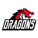 Plantilla creativa del logotipo del dragón Diseño de la mascota del deporte ilustración del vector