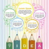 Plantilla creativa infographic con la línea colorida del dibujo de lápices stock de ilustración