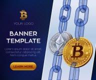 Plantilla Crypto de la bandera de la moneda Bitcoin Ethereum monedas físicas isométricas del pedazo 3D Bitcoin y plata de oro Eth Imagen de archivo