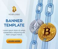 Plantilla Crypto de la bandera de la moneda Bitcoin Ethereum monedas físicas isométricas del pedazo 3D Bitcoin y plata de oro Eth Foto de archivo