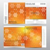 Plantilla cuadrada del folleto con la estructura molecular Fondo abstracto geométrico Medicina, ciencia, tecnología Vector ilustración del vector