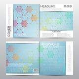 Plantilla cuadrada del folleto con la estructura molecular Fondo abstracto geométrico Medicina, ciencia, tecnología Vector stock de ilustración