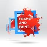 plantilla 3D con fuera del movimiento del cepillo del marco Foto de archivo libre de regalías