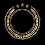 Plantilla de alta calidad de la insignia del metal con la guirnalda y las estrellas del laurel, stock de ilustración