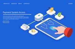Plantilla de aterrizaje del diseño de la página de la página web del vector del acceso de sistema de pago ilustración del vector