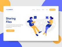 Plantilla de aterrizaje de la página de compartir ficheros y concepto del ejemplo de los documentos Concepto de diseño plano mode stock de ilustración