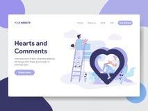 Plantilla de aterrizaje de la página de corazones y del concepto del ejemplo del comentario Concepto de diseño plano moderno del  libre illustration