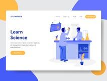 Plantilla de aterrizaje de la página del concepto del ejemplo de la ciencia Learn Concepto de diseño plano moderno del diseño de  stock de ilustración