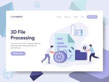Plantilla de aterrizaje de la página del concepto del ejemplo del documento del fichero 3D Concepto de diseño plano isométrico de libre illustration