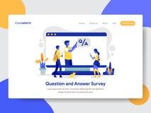 Plantilla de aterrizaje de la página del concepto del ejemplo de la encuesta sobre la pregunta y respuesta Concepto de diseño pla stock de ilustración